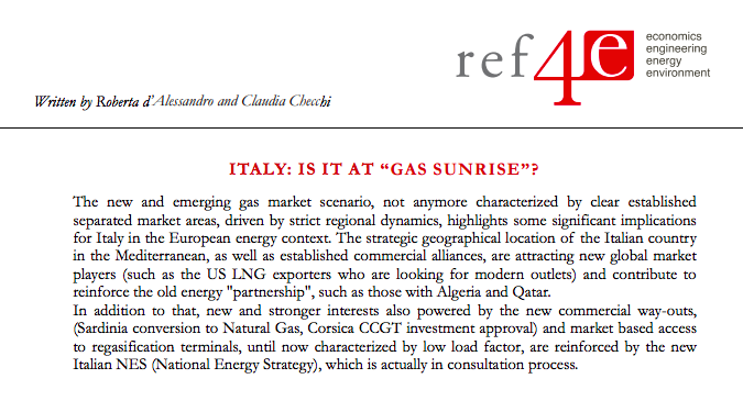 LNG and gas in italian market